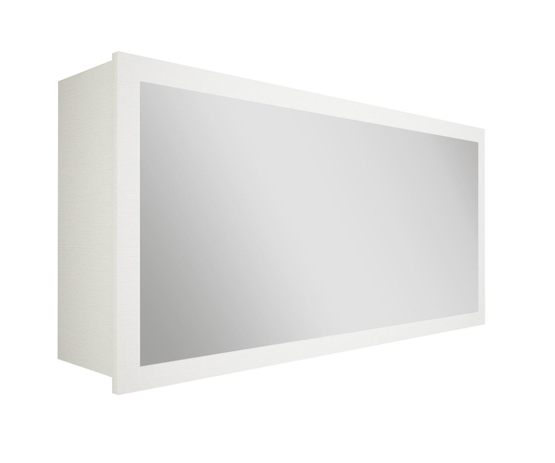 Specchio bagno con contenitore bianco