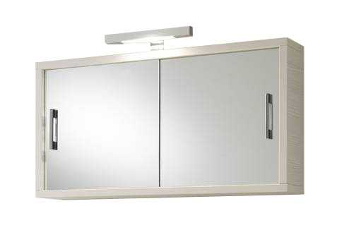 Specchio bagno con contenitore 2 ante scorrevoli bianche