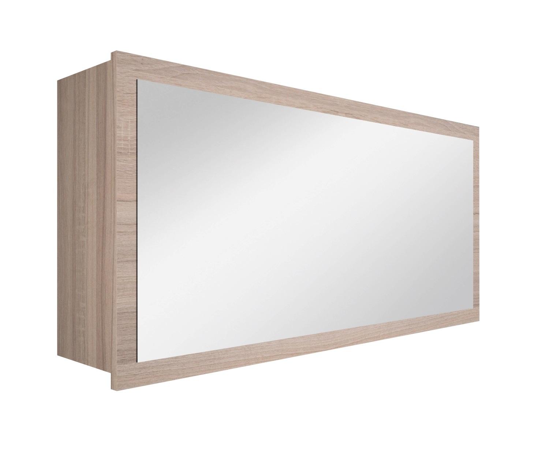 Specchio bagno con contenitore anta a vasistas tabacco chiaro